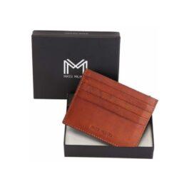Genuine Leather Slim Credit Card Holder – Tan