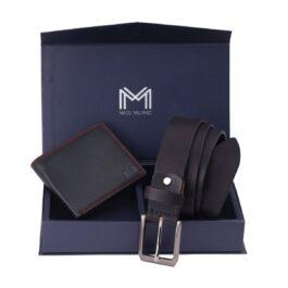 Gift Set for Men (Slim Wallet & Belt) – Fabriano – Black