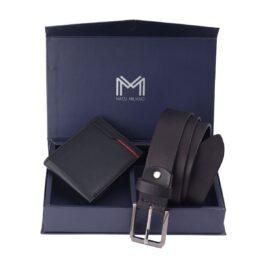 Gift Set for Men (Slim Wallet & Belt) – Verona – Black