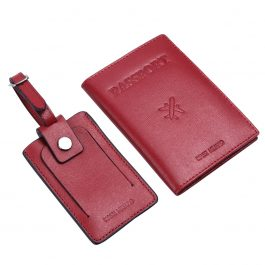 The Travel Box (Passport Cover & Luggage Tag Gift Set) – Red